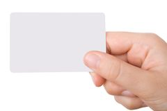Hand, die eine Visitenkarte anhält Stockbilder