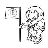Hand, die einen Astronauten - Vektor-Illustration zeichnet Lizenzfreies Stockfoto