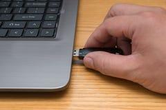 Hand, die einen USB-Blitz-Antrieb setzt Stockbild