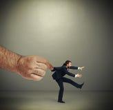 Hand die emotionele lopende zakenman kepping royalty-vrije stock foto