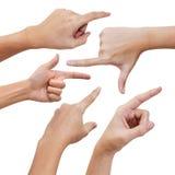 Hand, die etwas poiting ist Lizenzfreie Stockbilder