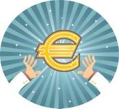 Hand die Euro bereikt Royalty-vrije Stock Fotografie