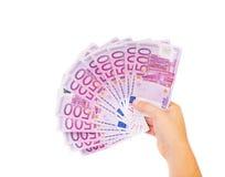 Hand die euro rekeningen houdt Royalty-vrije Stock Foto's