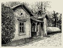 Hand, die flüchtige künstlerische Dorflandschaft zeichnet Lizenzfreies Stockfoto