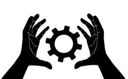 Hand, die Gang, Ingenieursymbolvektor hält Lizenzfreie Stockfotografie