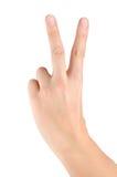 Hand die geïsoleerdr overwinningsteken simuleert Stock Foto's