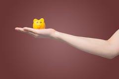 Hand die geel spaarvarken op geïsoleerde gradiënt rode achtergrond houden, die geld voor investeringsconcept besparen Stock Afbeeldingen