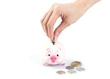 Hand, die Geld in ein Sparschwein einsetzt Lizenzfreie Stockbilder
