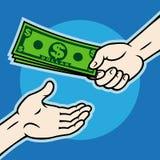 Hand, die geld geeft Stock Fotografie