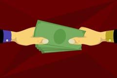 Hand die geld geven en geld nemen Stock Afbeelding