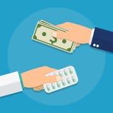 Hand die geld voor geneeskunde geven Royalty-vrije Stock Fotografie