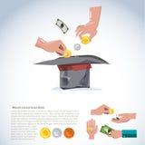 Hand, die Geld zum Hut nimmt Spenden Sie und Konzept gebend, kommen Sie mit VA Stockfoto