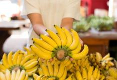 Hand die gele bananen houden Stock Afbeelding