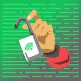 Hand die geopend slot tonen De vectorillustratie van de hakkeraanval Stock Afbeeldingen