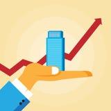 Hand, die Geschäftsdiagramm zeigt Lizenzfreie Stockfotos