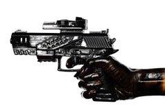 Hand, die Gewehr befleckt mit Motoröl hält Lizenzfreie Stockfotografie