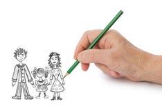 Hand, die glückliche Familie mein Bild zeichnet stockbilder