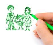 Hand, die glückliche Familie zeichnet lizenzfreies stockfoto