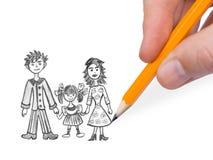 Hand, die glückliche Familie zeichnet lizenzfreies stockbild