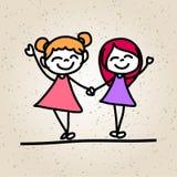 Hand, die glückliche Kinder der abstrakten Karikatur zeichnet Lizenzfreies Stockfoto