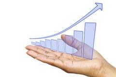 Hand die grafiek toont royalty-vrije stock afbeeldingen