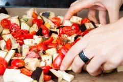 Hand die groenten mengen Royalty-vrije Stock Afbeelding