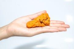 Hand, die Hühnerflügel hält Stockbild