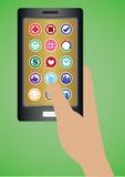 Hand, die Handy mit runden Apps-Ikonen hält Stockbild