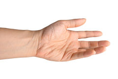 Hand, die heraus gegen weißen Hintergrund erreicht. lizenzfreies stockbild