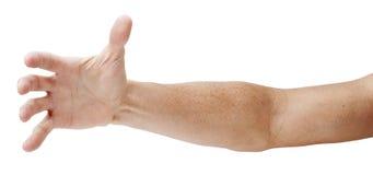 Hand, die heraus getrennt erreicht Lizenzfreies Stockbild