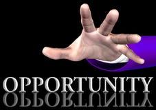 Hand, die heraus zur Wort Gelegenheit erreicht Stockfotografie