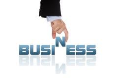Hand die het bedrijfswoord houdt Stock Foto