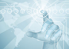 Hand die het conceptenachtergrond selecteert van de wereldkaart Royalty-vrije Stock Afbeeldingen