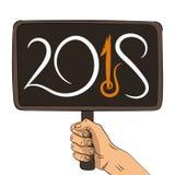 Hand die houten bord met tekst 2018 houden royalty-vrije illustratie