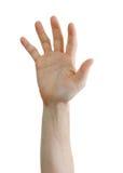 Hand die hulp verzoekt die op witte achtergrond wordt geïsoleerdo Stock Fotografie