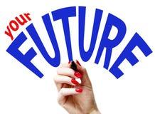 Hand, die Ihre Zukunft schreibt lizenzfreie stockfotografie