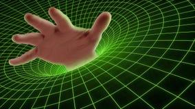 Hand, die im schwarzen Loch Technologie Cyber ertrinkt lizenzfreie stockfotografie