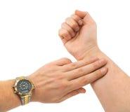 Hand die impuls neemt Royalty-vrije Stock Afbeeldingen