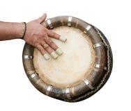 Hand, die indische Trommel schlägt Stockbilder