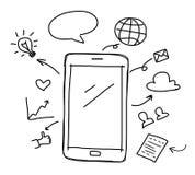 Hand, die intelligentes Telefon mit Social Media zeichnet stock abbildung