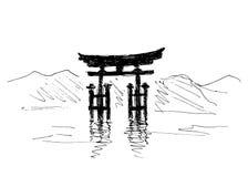 Hand die Japanse torii trekken Stock Foto