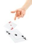 Hand die kaarten werpt Royalty-vrije Stock Fotografie