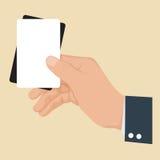Hand, die Karte Schwarzweiss hält Stockbild