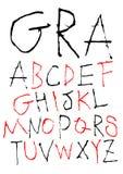 Hand, die kindischen Schrifttyp schreibt Stockfotografie