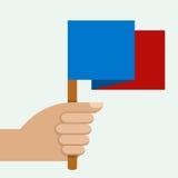 Hand die kleurrijke vlag, vectorillustratie houden Stock Foto