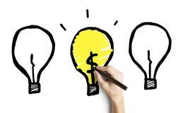 Hand, die Lampe drei zeichnet Stockfotografie