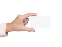 Hand, die leeres namecard hält Lizenzfreies Stockfoto