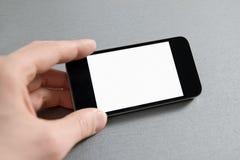 Hand die Lege Mobiele Telefoon toont stock foto