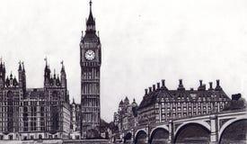 Hand, die London zeichnet Lizenzfreies Stockbild