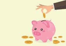 Hand, die Münze ein Sparschwein setzt stock abbildung